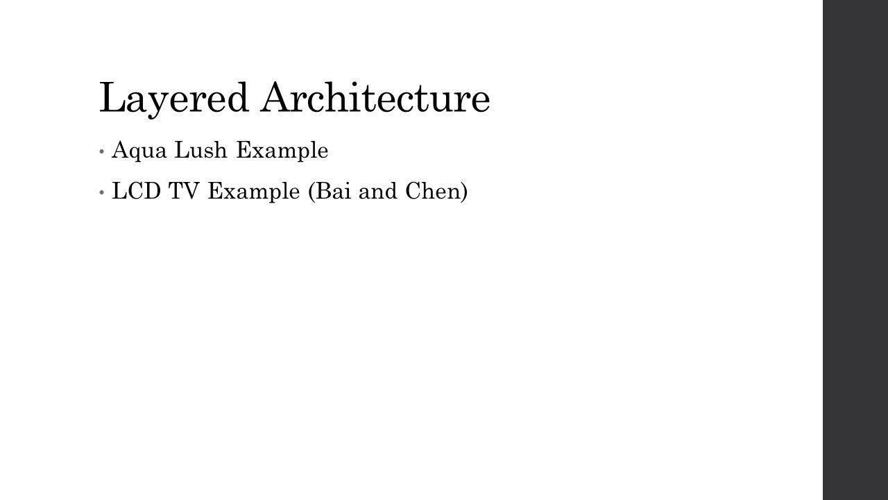 Layered Architecture Aqua Lush Example LCD TV Example (Bai and Chen)