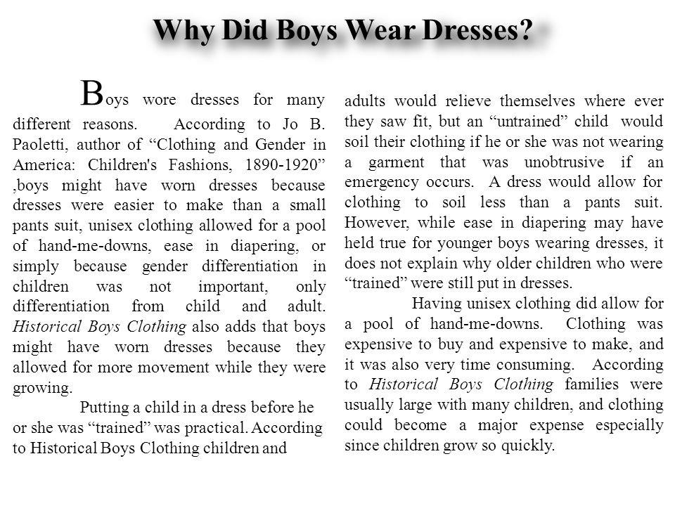Why Did Boys Wear Dresses.