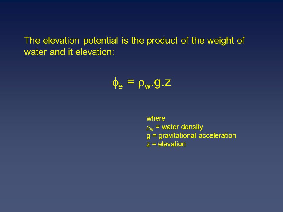 The elevation potential is the product of the weight of water and it elevation: e = w.g.z where w = water density g = gravitational acceleration z = elevation