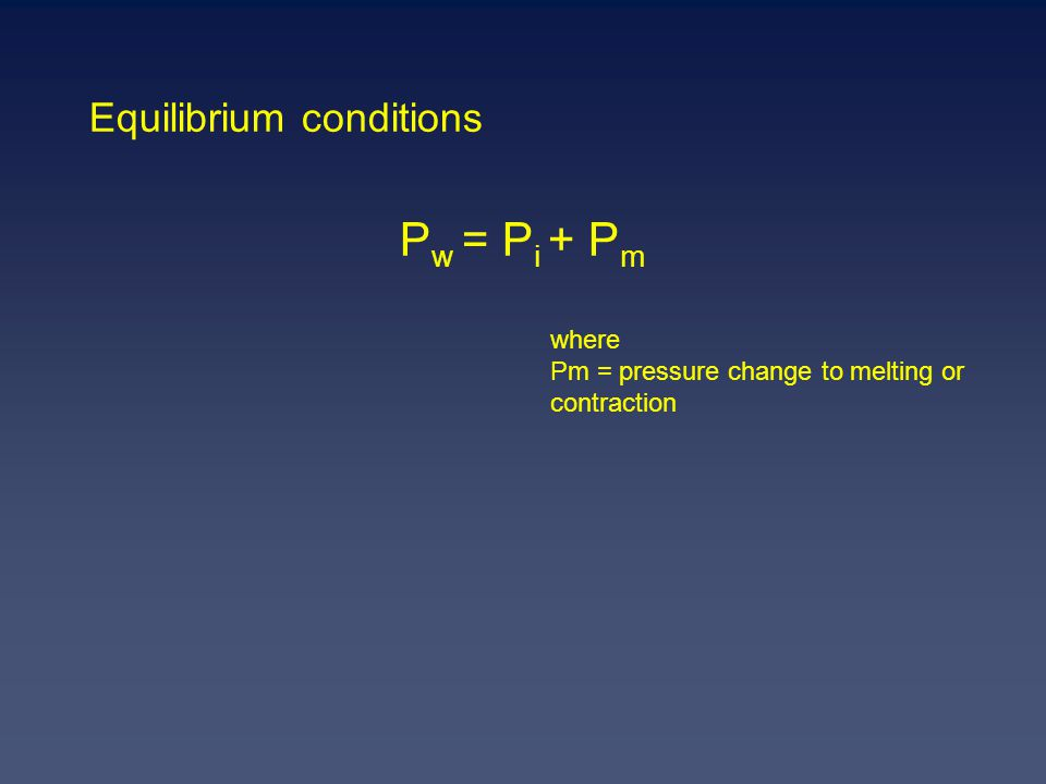 Equilibrium conditions P w = P i + P m where Pm = pressure change to melting or contraction