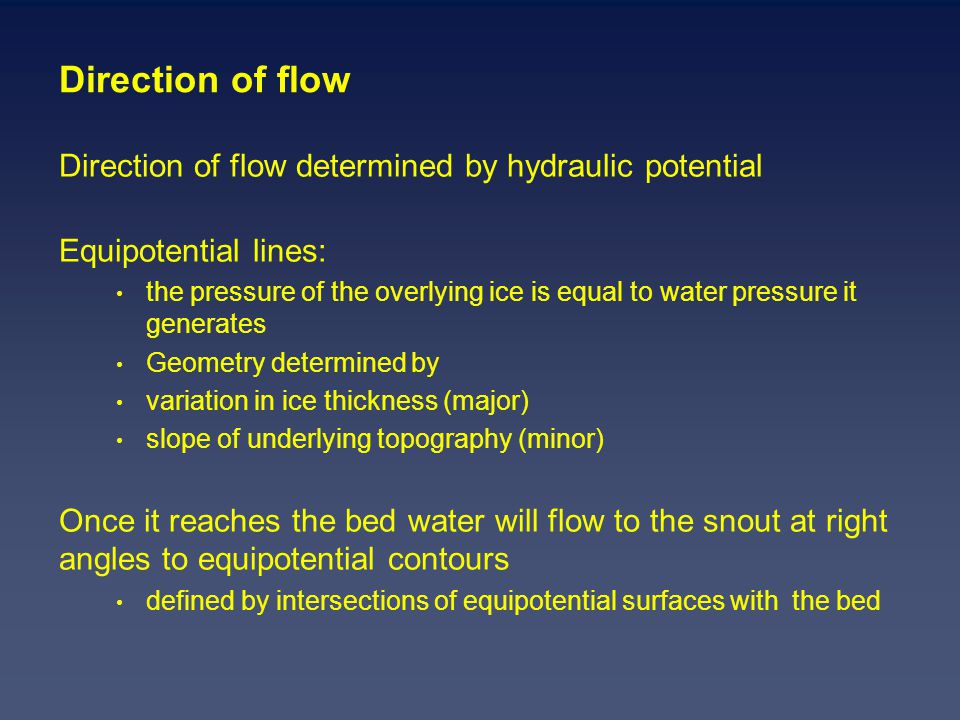 Direction of flow Direction of flow determined by hydraulic potential Equipotential lines: the pressure of the overlying ice is equal to water pressure it generates Geometry determined by variation in ice thickness (major) slope of underlying topography (minor) Once it reaches the bed water will flow to the snout at right angles to equipotential contours defined by intersections of equipotential surfaces with the bed