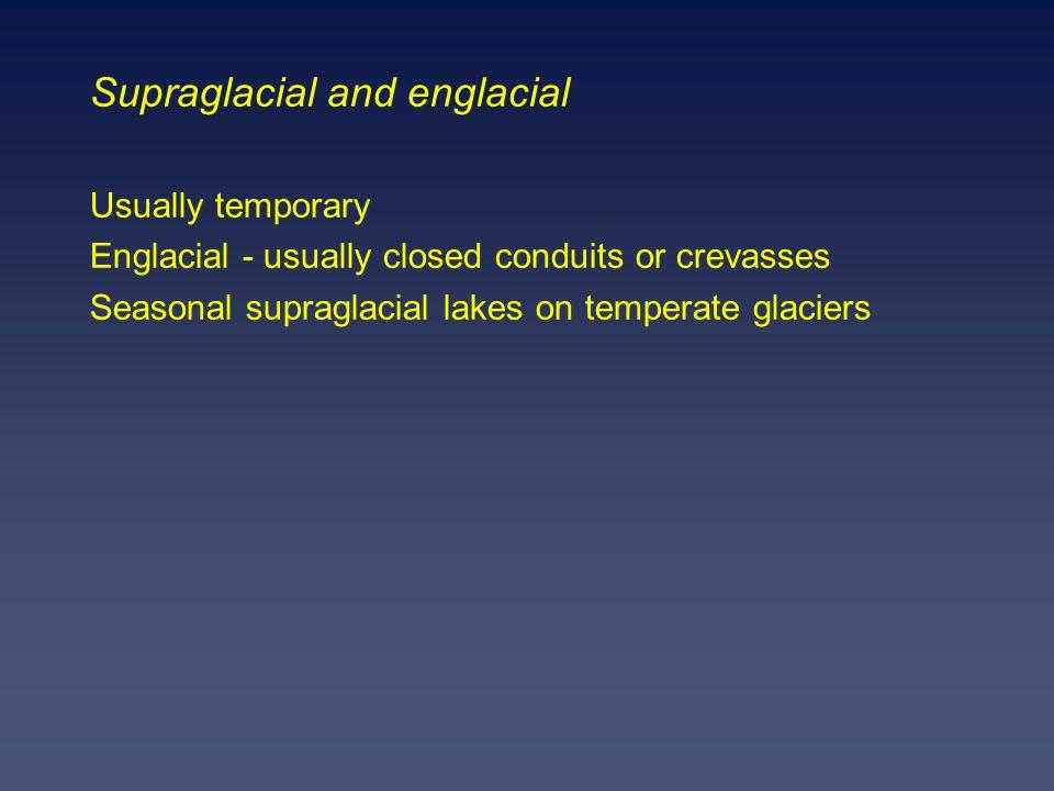 Supraglacial and englacial Usually temporary Englacial - usually closed conduits or crevasses Seasonal supraglacial lakes on temperate glaciers