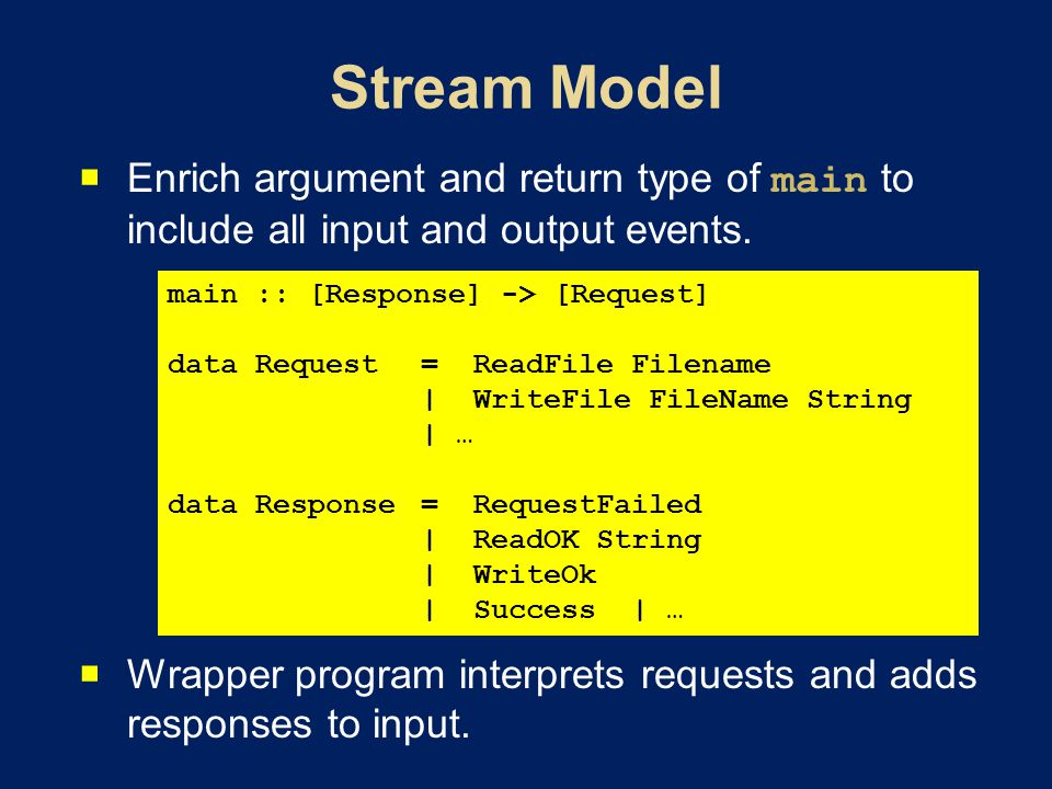 Enrich argument and return type of main to include all input and output events. Wrapper program interprets requests and adds responses to input. main