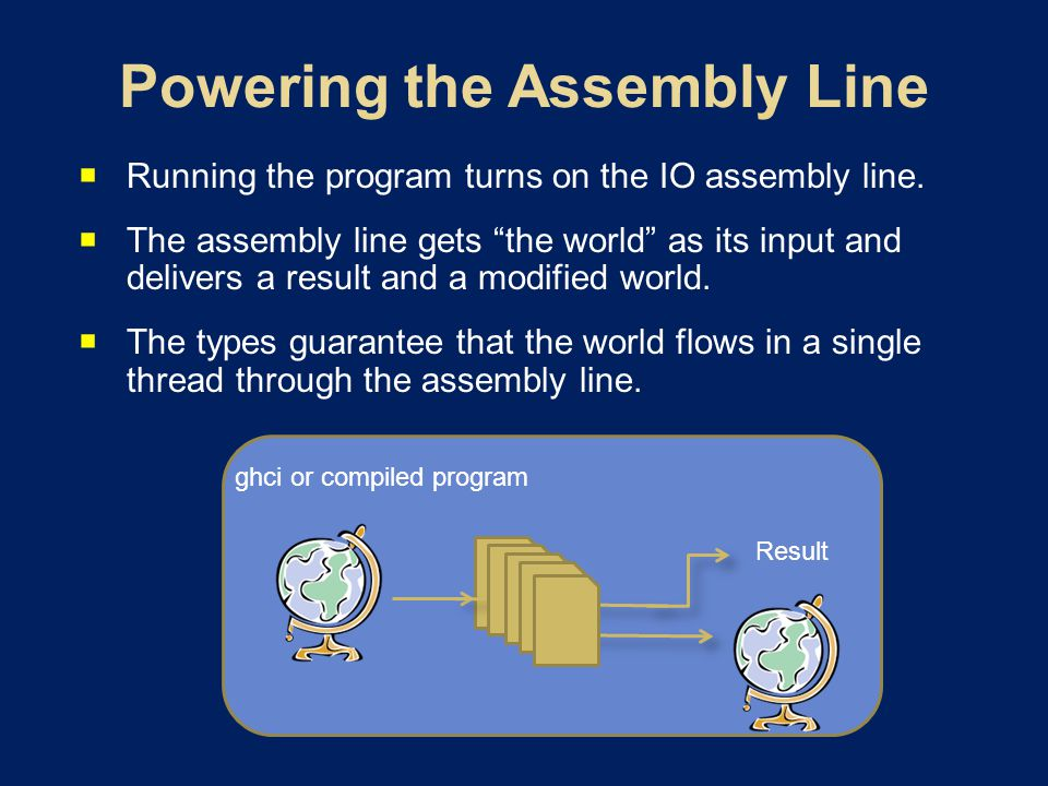 Running the program turns on the IO assembly line. The assembly line gets the world as its input and delivers a result and a modified world. The types