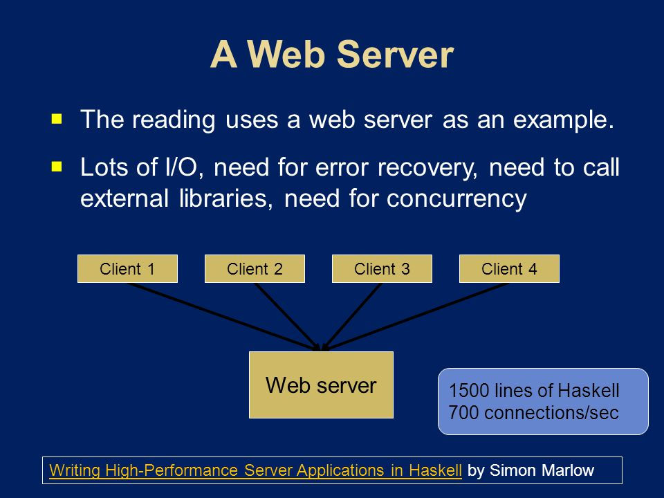 The reading uses a web server as an example.