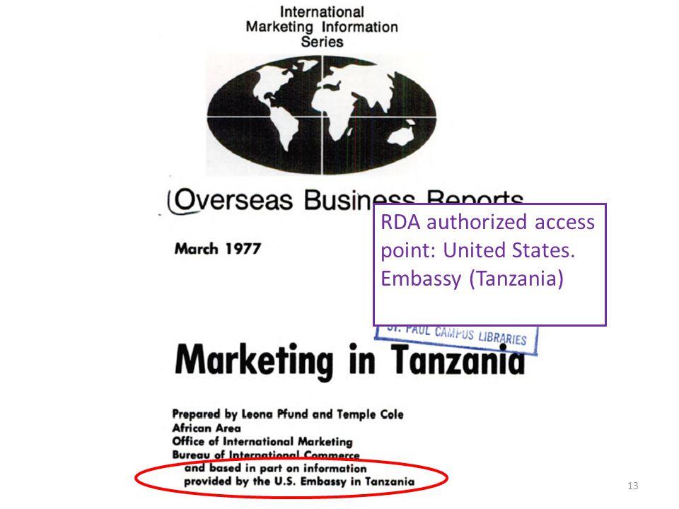 RDA authorized access point: United States. Embassy (Tanzania) 13