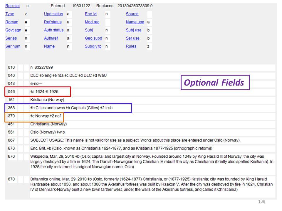 Optional Fields 139