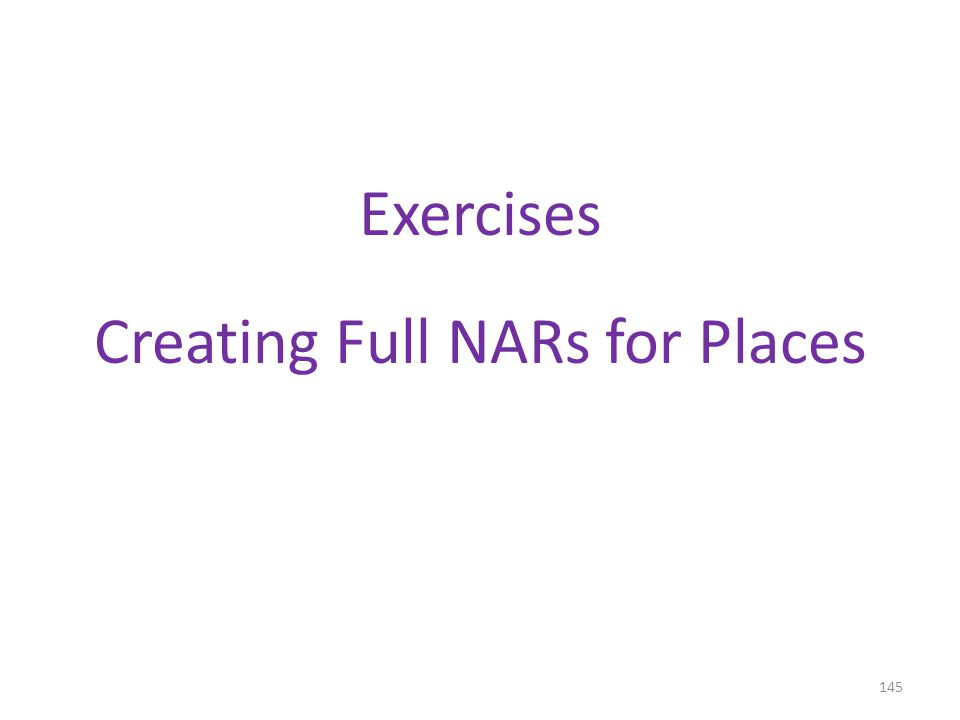 Exercises Creating Full NARs for Places 145