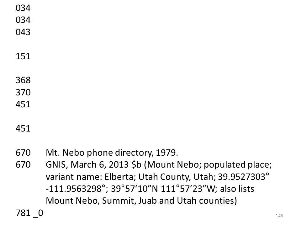 034 043 151 368 370 451 670 Mt. Nebo phone directory, 1979.