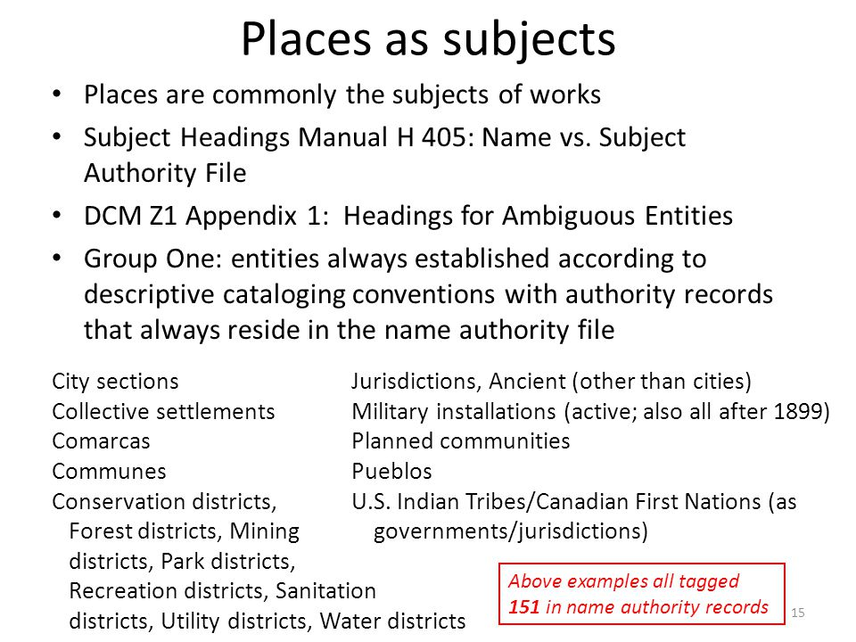 Places as subjects Places are commonly the subjects of works Subject Headings Manual H 405: Name vs.