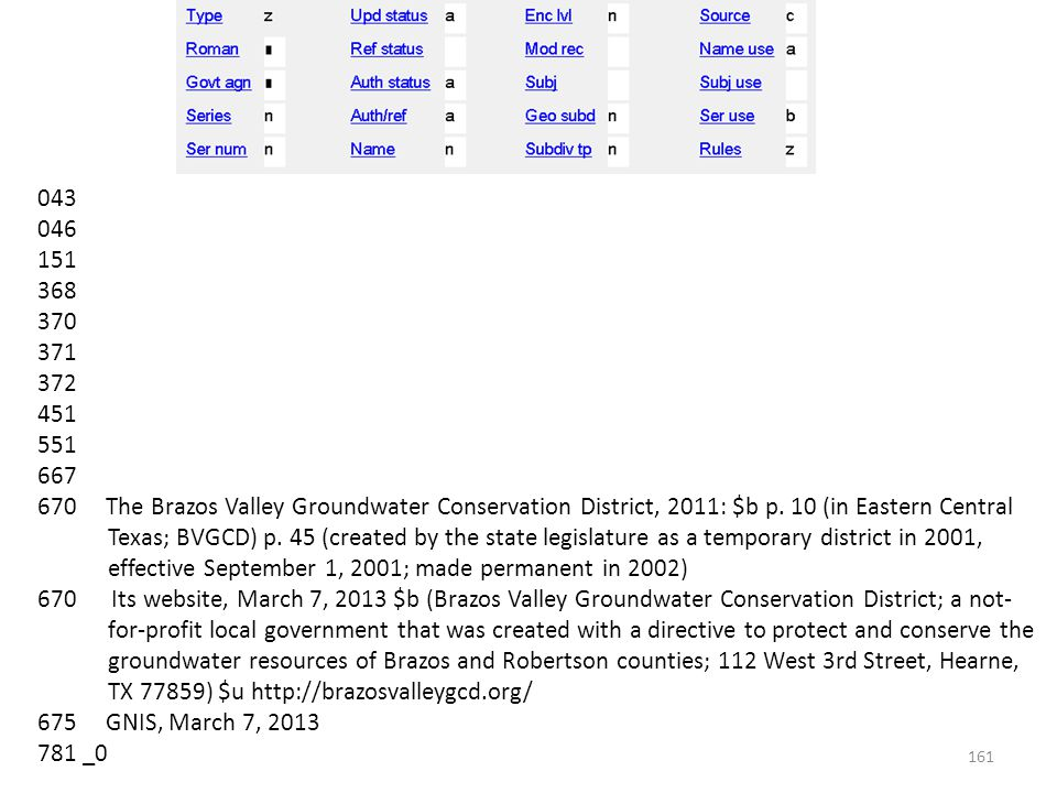 043 046 151 368 370 371 372 451 551 667 670 The Brazos Valley Groundwater Conservation District, 2011: $b p.