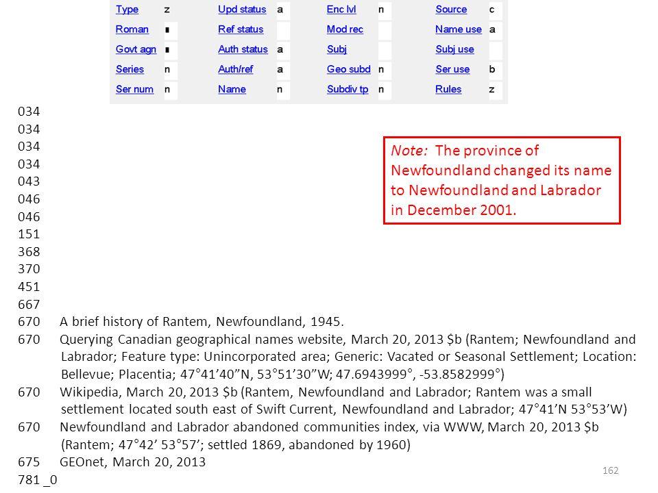 034 043 046 151 368 370 451 667 670 A brief history of Rantem, Newfoundland, 1945.