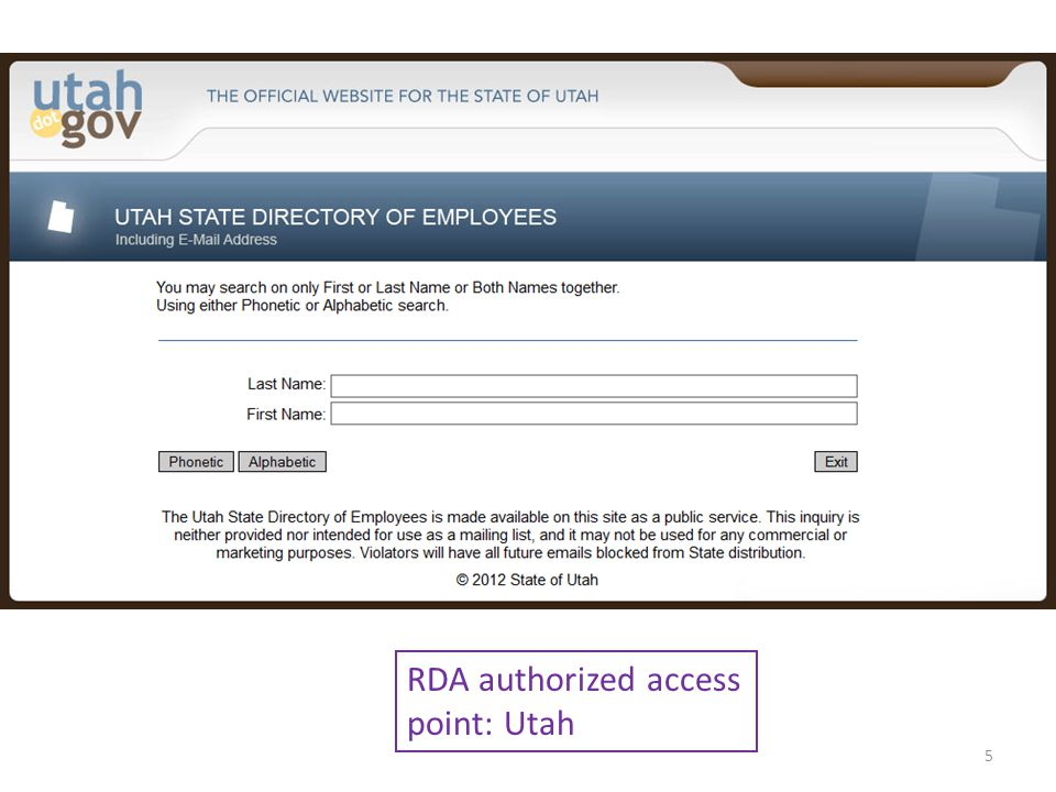 RDA authorized access point: Utah 5