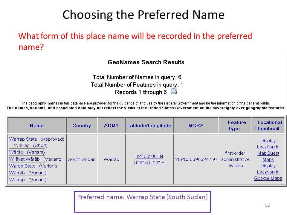 Choosing the Preferred Name What form of this place name will be recorded in the preferred name.