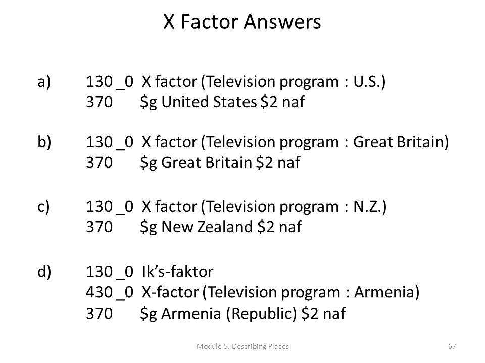 X Factor Answers 67 a)130 _0 X factor (Television program : U.S.) 370 $g United States $2 naf b)130 _0 X factor (Television program : Great Britain) 370 $g Great Britain $2 naf c)130 _0 X factor (Television program : N.Z.) 370 $g New Zealand $2 naf d)130 _0 Iks-faktor 430 _0 X-factor (Television program : Armenia) 370 $g Armenia (Republic) $2 naf Module 5.
