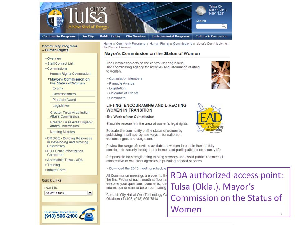 RDA authorized access point: Tulsa (Okla.). Mayors Commission on the Status of Women 7