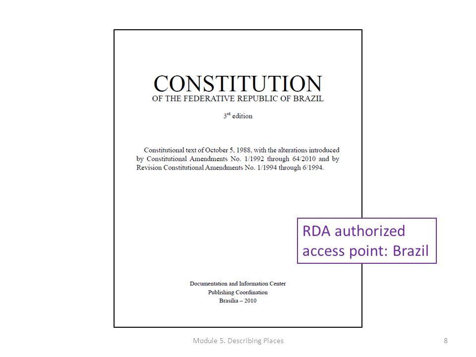 RDA authorized access point: Washington (State).Governor (2005-2013 : Gregoire) 9Module 5.