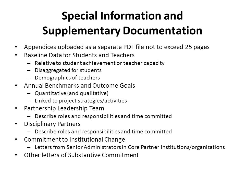 Special Information and Supplementary Documentation Appendices uploaded as a separate PDF file not to exceed 25 pages Baseline Data for Students and T