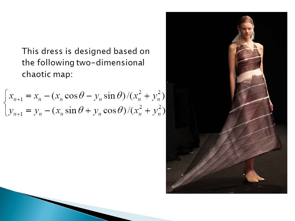 This dress is designed based on the following two-dimensional chaotic map: