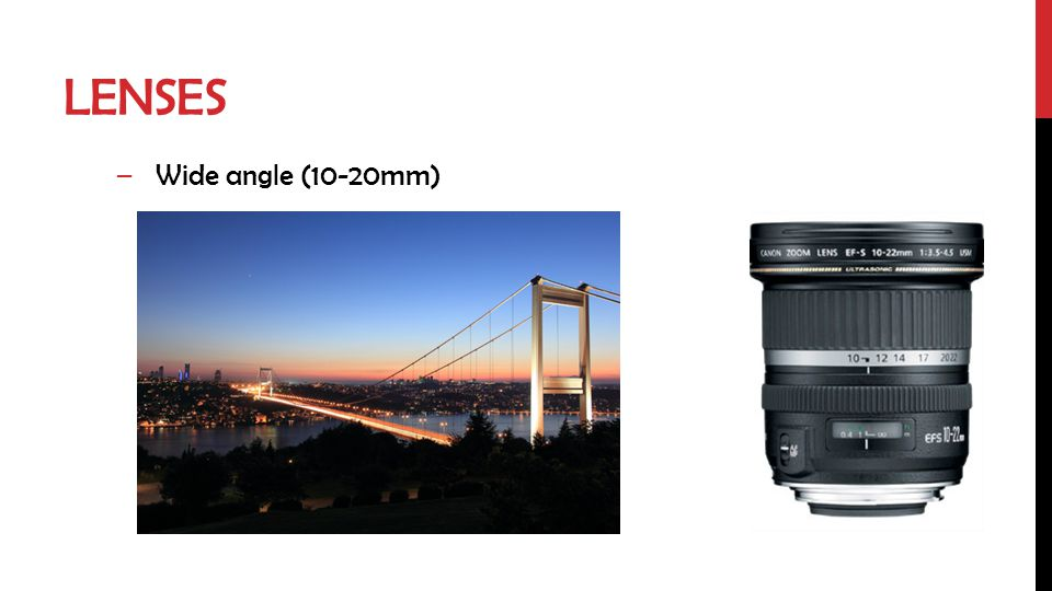 LENSES –Wide angle (10-20mm)