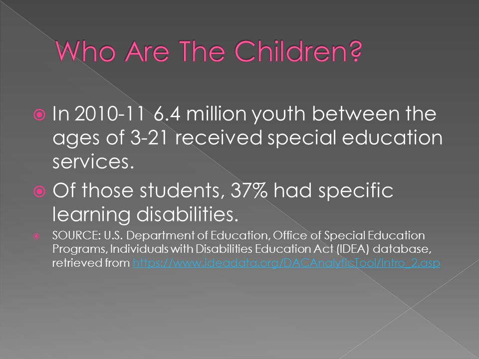 In 2010-11 6.4 million youth between the ages of 3-21 received special education services.