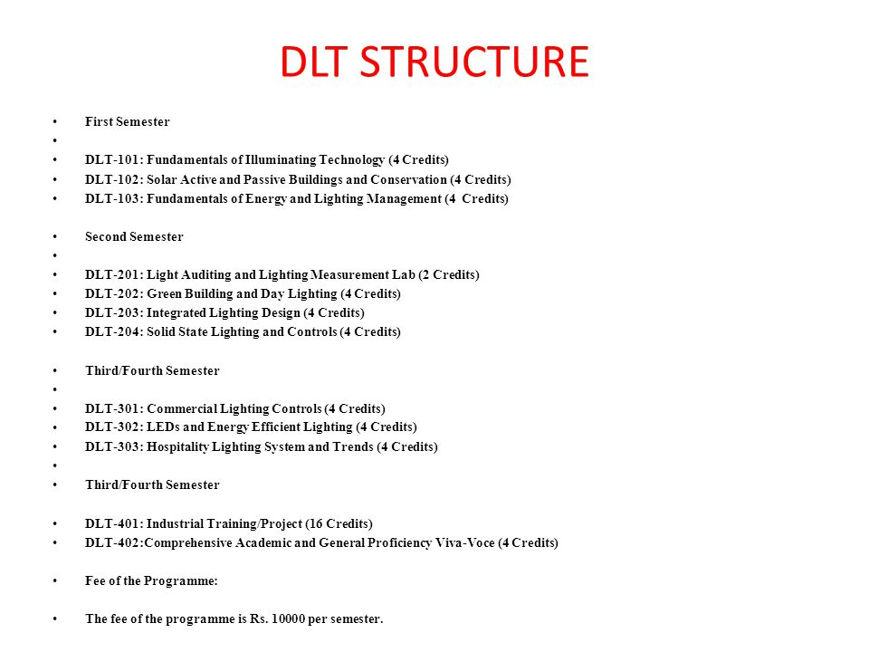 DLT STRUCTURE First Semester DLT-101: Fundamentals of Illuminating Technology (4 Credits) DLT-102: Solar Active and Passive Buildings and Conservation (4 Credits) DLT-103: Fundamentals of Energy and Lighting Management (4 Credits) Second Semester DLT-201: Light Auditing and Lighting Measurement Lab (2 Credits) DLT-202: Green Building and Day Lighting (4 Credits) DLT-203: Integrated Lighting Design (4 Credits) DLT-204: Solid State Lighting and Controls (4 Credits) Third/Fourth Semester DLT-301: Commercial Lighting Controls (4 Credits) DLT-302: LEDs and Energy Efficient Lighting (4 Credits) DLT-303: Hospitality Lighting System and Trends (4 Credits) Third/Fourth Semester DLT-401: Industrial Training/Project (16 Credits) DLT-402:Comprehensive Academic and General Proficiency Viva-Voce (4 Credits) Fee of the Programme: The fee of the programme is Rs.