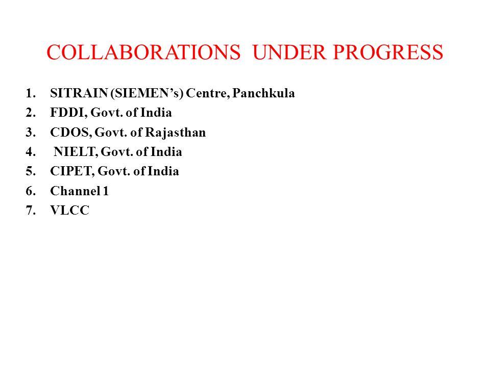 COLLABORATIONS UNDER PROGRESS 1.SITRAIN (SIEMENs) Centre, Panchkula 2.FDDI, Govt. of India 3.CDOS, Govt. of Rajasthan 4. NIELT, Govt. of India 5.CIPET