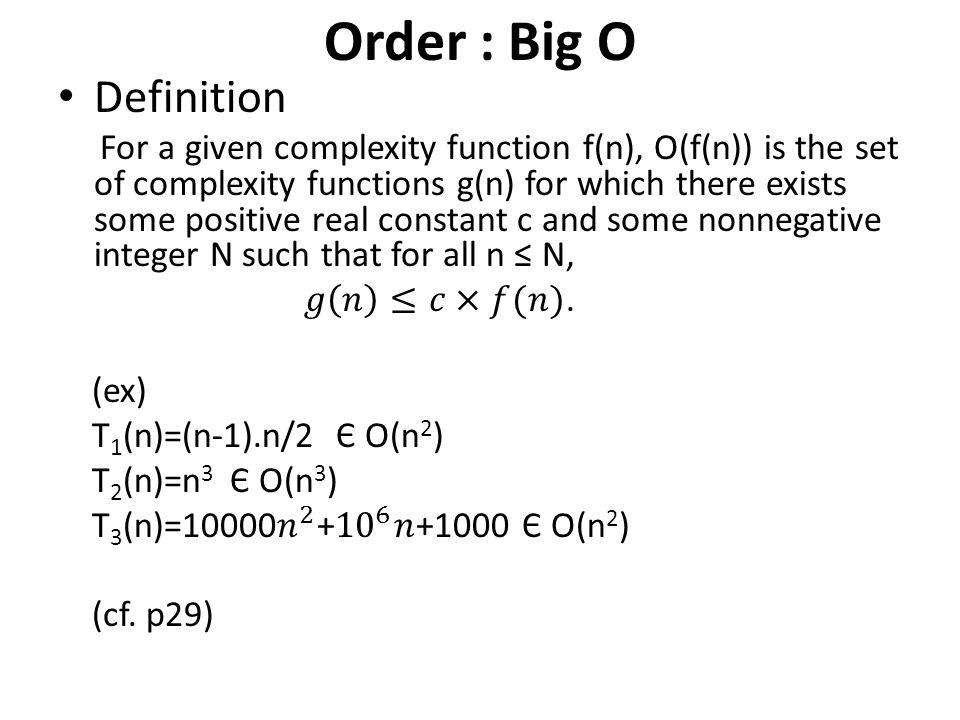 Order : Big O