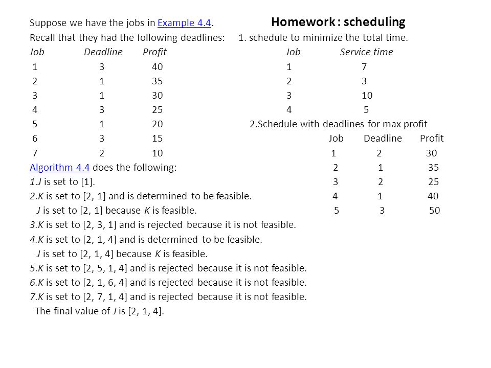 Suppose we have the jobs in Example 4.4. Homework : schedulingExample 4.4 Recall that they had the following deadlines: 1. schedule to minimize the to
