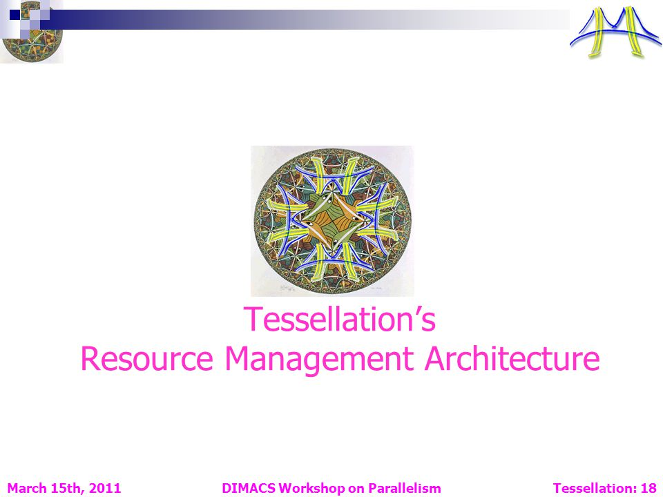 Tessellations Resource Management Architecture DIMACS Workshop on Parallelism Tessellation: 18 March 15th, 2011