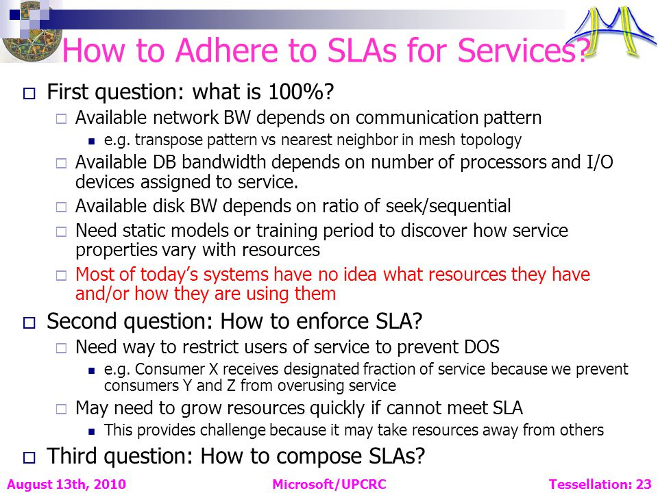 How to Adhere to SLAs for Services. First question: what is 100%.