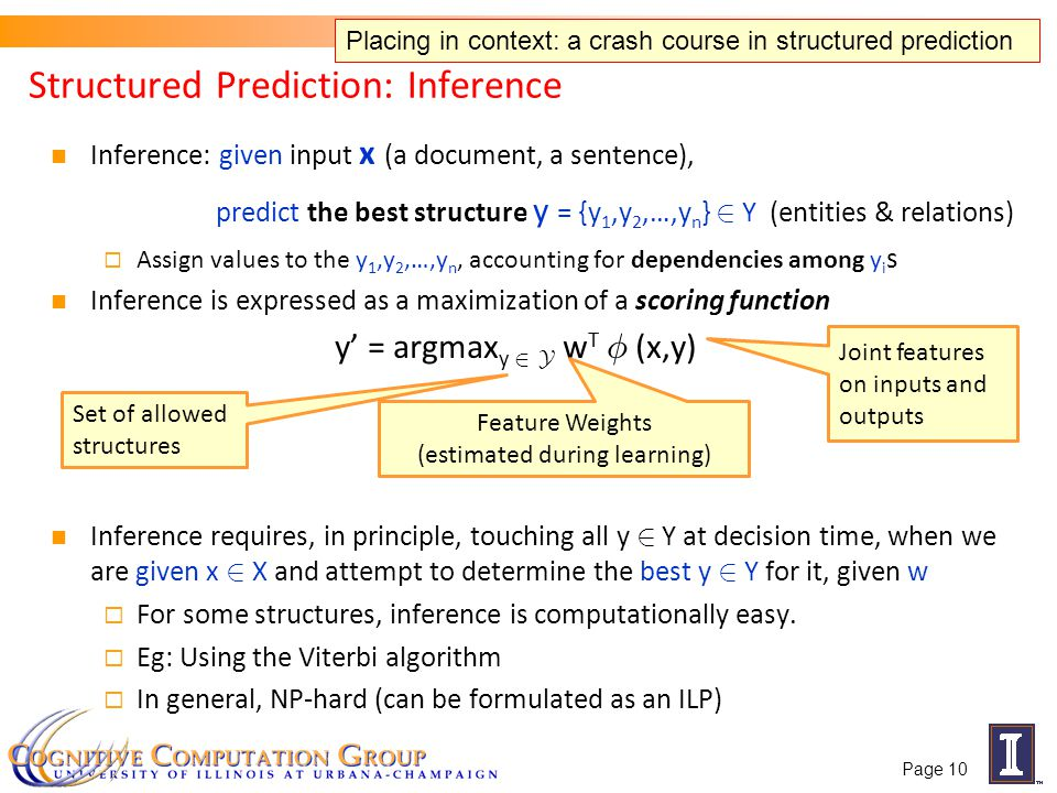 Inference: given input x (a document, a sentence), predict the best structure y = {y 1,y 2,…,y n } 2 Y (entities & relations) Assign values to the y 1