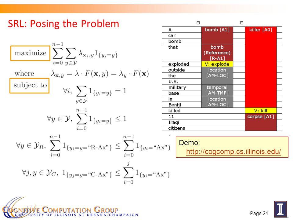 SRL: Posing the Problem Demo: http://cogcomp.cs.illinois.edu/ http://cogcomp.cs.illinois.edu/ Page 24