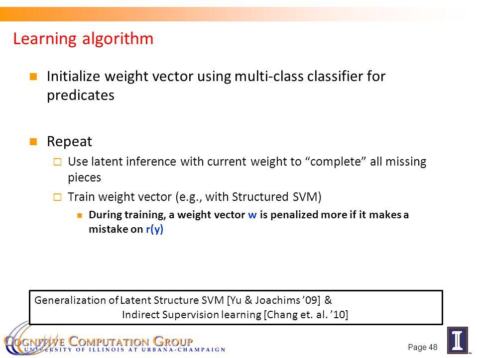 Learning algorithm Initialize weight vector using multi-class classifier for predicates Repeat Use latent inference with current weight to complete al