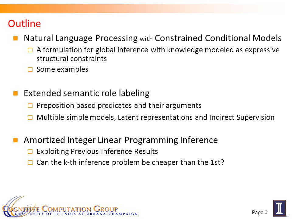 Inference takes into account constrains among parts of the structure; formulated as an ILP Latent inference Standard inference: Find an assignment to the full structure Latent inference: Given an example with annotated r(y*) Given that we have constraints between r(y) and h(y) this process completes the structure in the best possible way to support correct prediction of the variables being supervised.