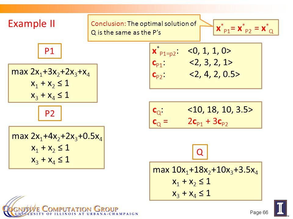 max 10x 1 +18x 2 +10x 3 +3.5x 4 x 1 + x 2 1 x 3 + x 4 1 c Q : c Q = 2c P1 + 3c P2 max 2x 1 +3x 2 +2x 3 +x 4 x 1 + x 2 1 x 3 + x 4 1 Example II x * P1=