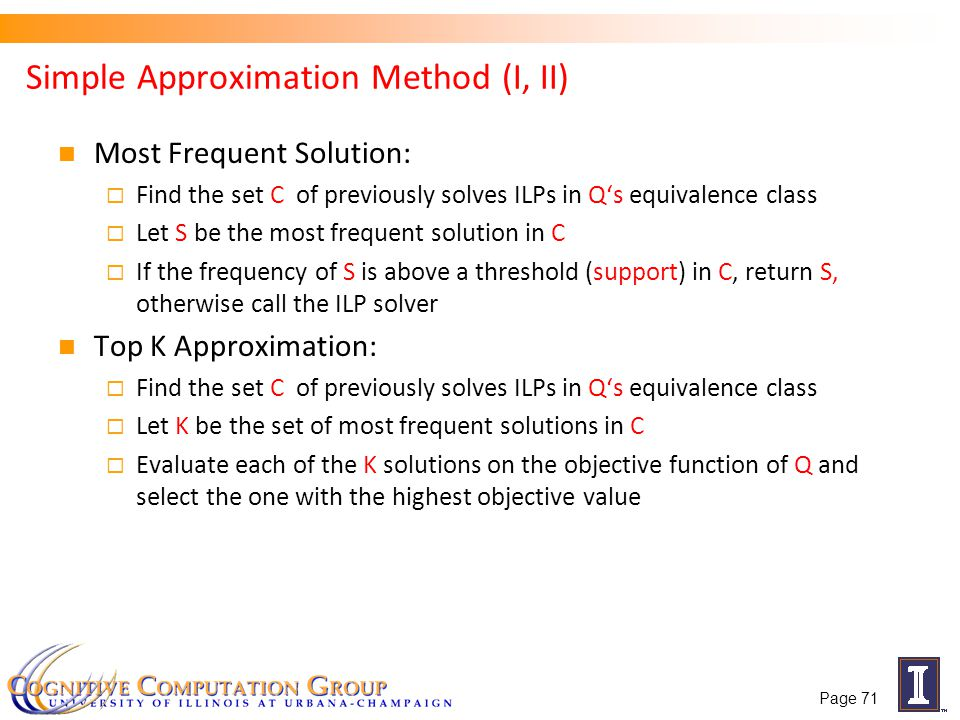 Simple Approximation Method (I, II) Most Frequent Solution: Find the set C of previously solves ILPs in Qs equivalence class Let S be the most frequen