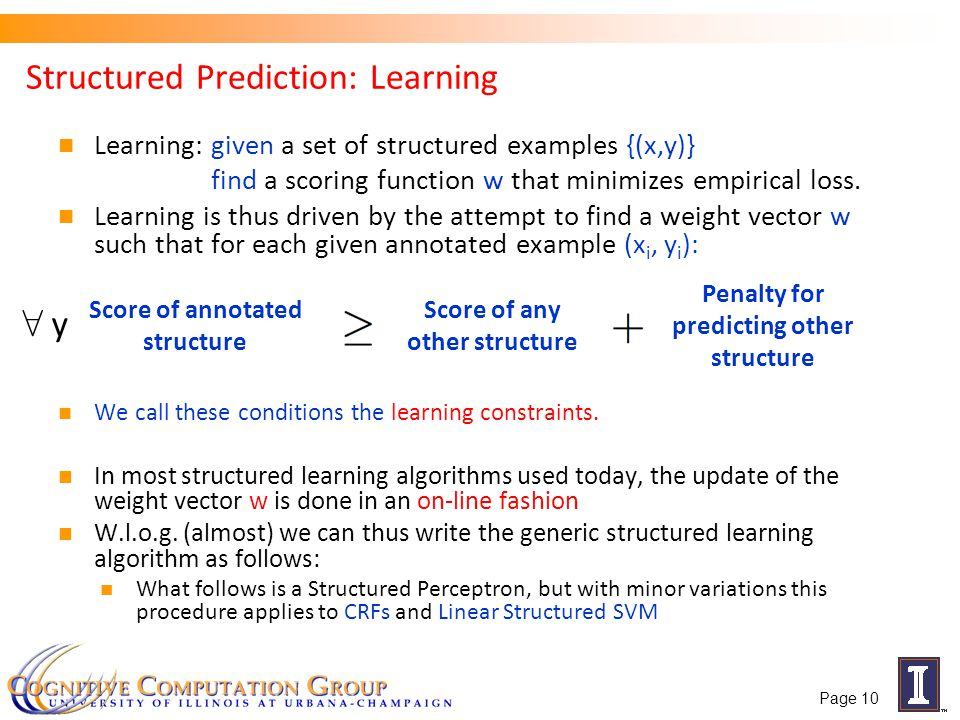 Structured Prediction: Learning Learning: given a set of structured examples {(x,y)} find a scoring function w that minimizes empirical loss.
