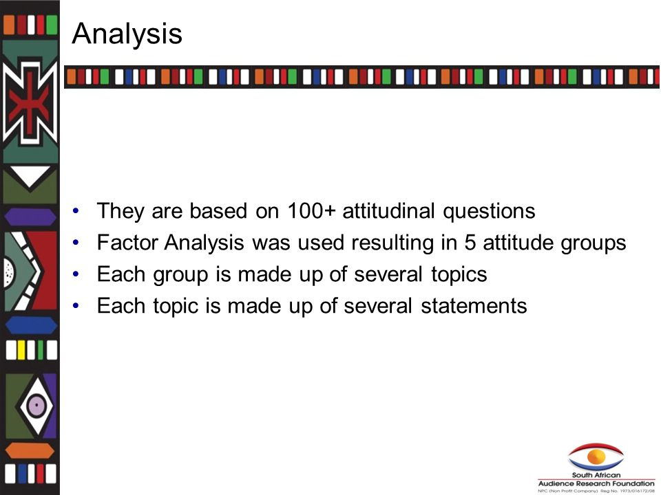 Analysis They are based on 100+ attitudinal questions Factor Analysis was used resulting in 5 attitude groups Each group is made up of several topics Each topic is made up of several statements