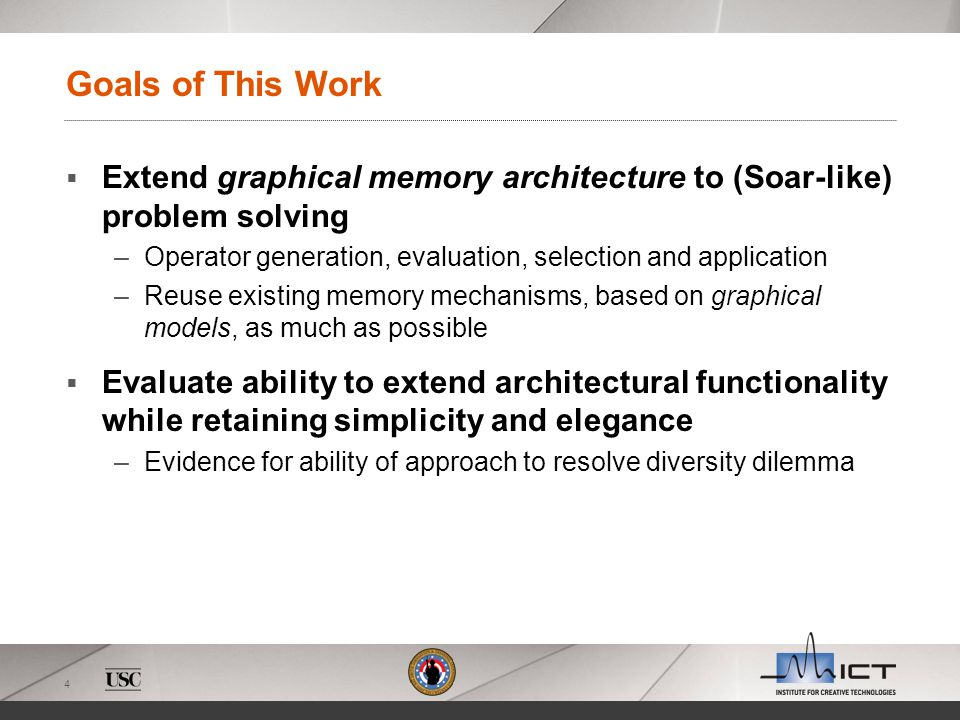 4 Goals of This Work Extend graphical memory architecture to (Soar-like) problem solving –Operator generation, evaluation, selection and application –