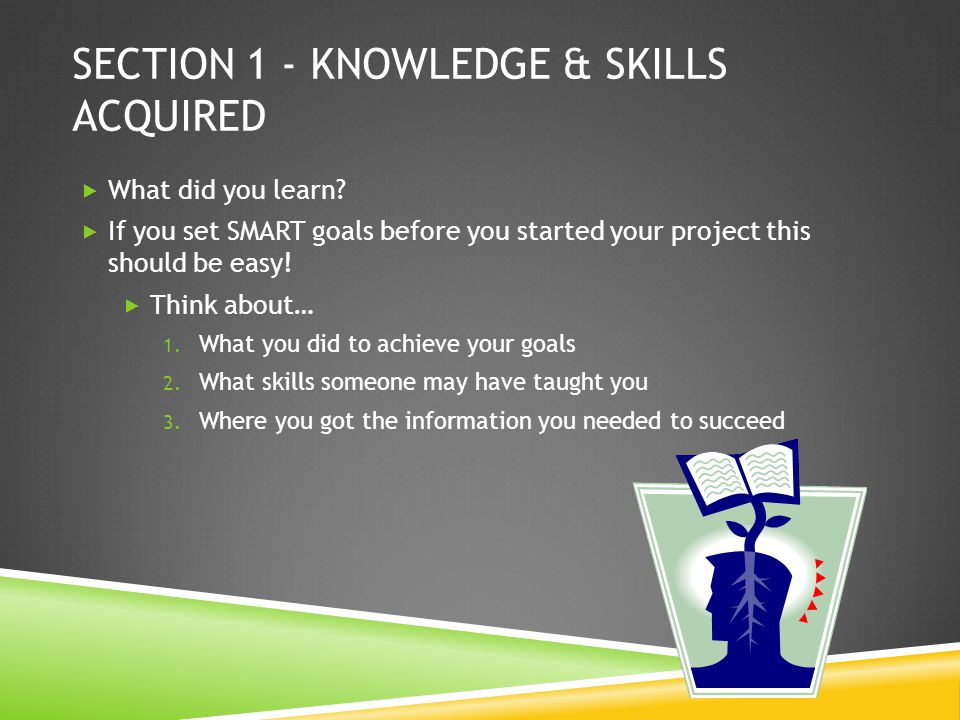 SECTION 1 - KNOWLEDGE & SKILLS ACQUIRED What did you learn.