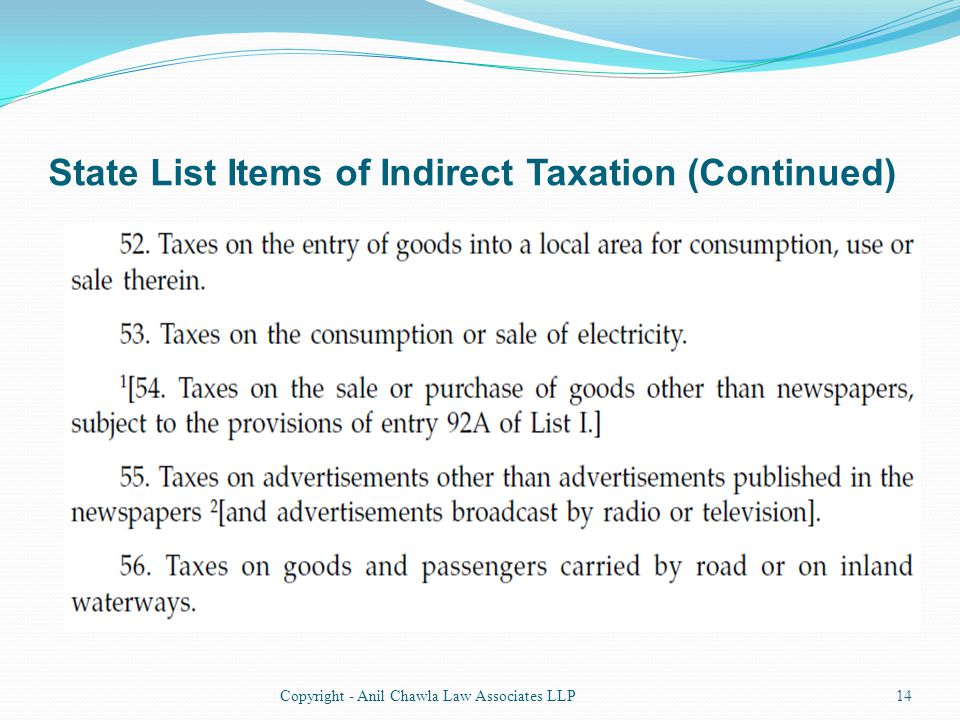 State List Items of Indirect Taxation (Continued) 14Copyright - Anil Chawla Law Associates LLP