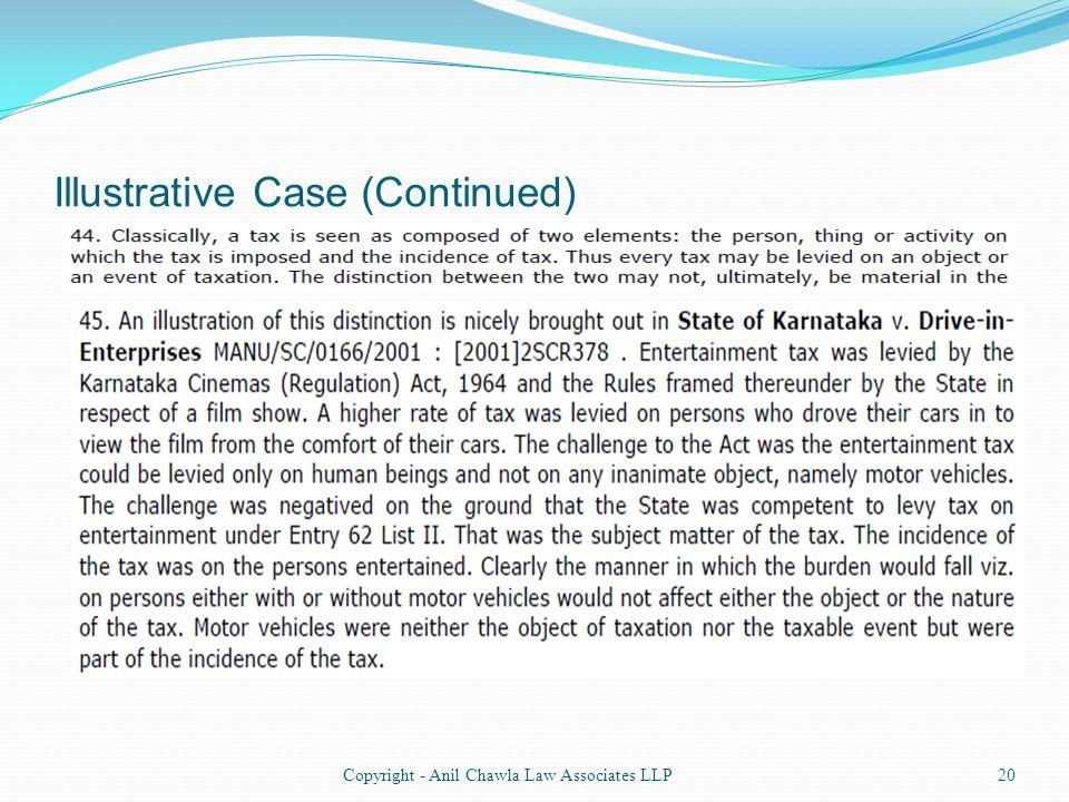 Illustrative Case (Continued) 20Copyright - Anil Chawla Law Associates LLP