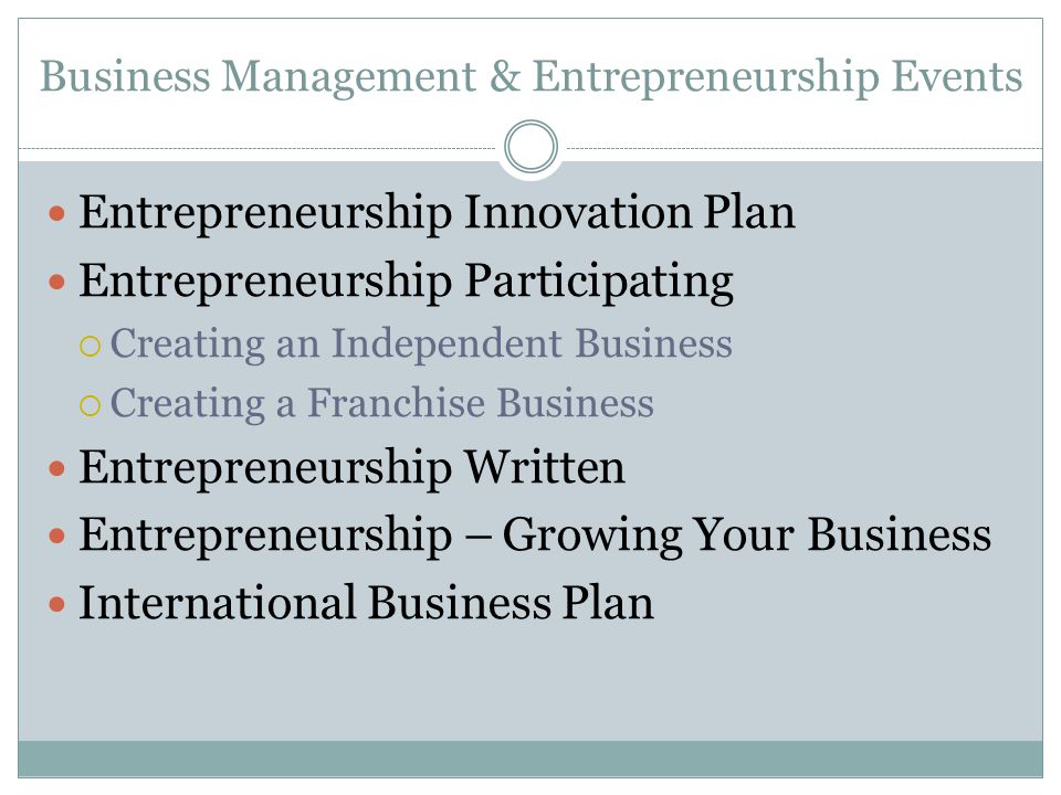 Business Management & Entrepreneurship Events Entrepreneurship Innovation Plan Entrepreneurship Participating Creating an Independent Business Creatin