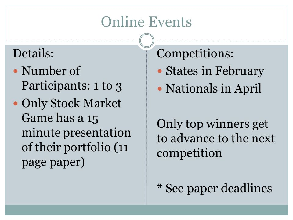 Online Events Details: Number of Participants: 1 to 3 Only Stock Market Game has a 15 minute presentation of their portfolio (11 page paper) Competiti