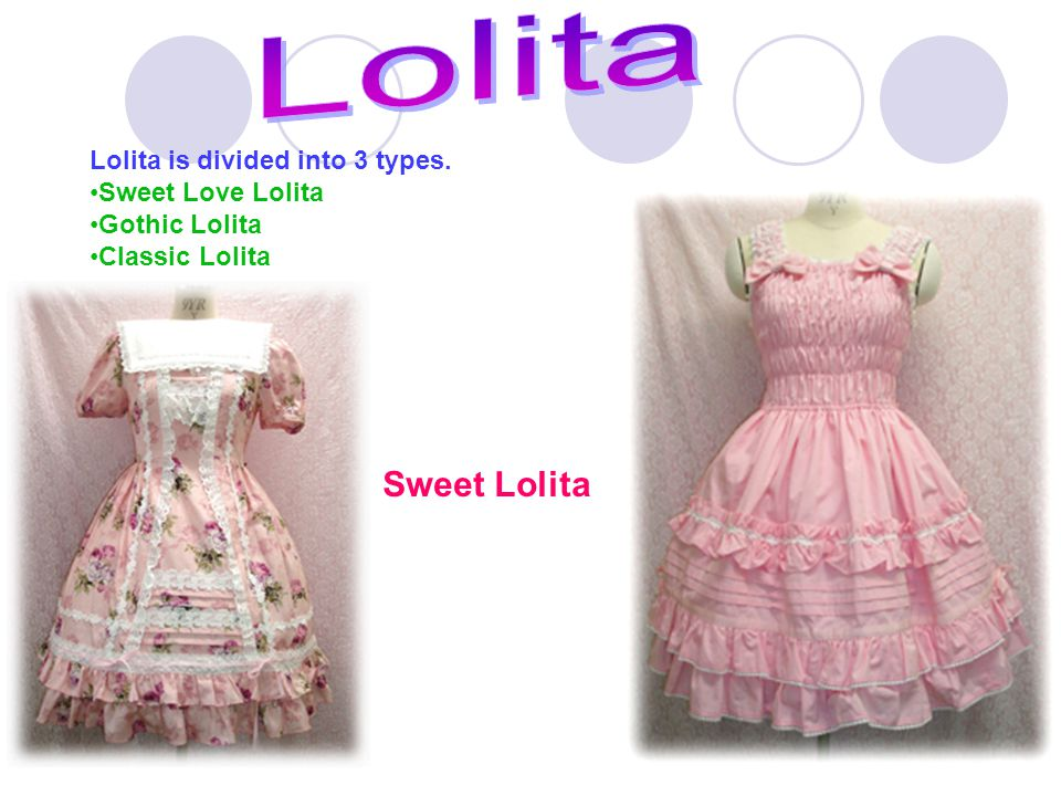 Lolita is divided into 3 types. Sweet Love Lolita Gothic Lolita Classic Lolita Sweet Lolita