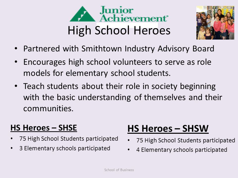 High School Heroes Partnered with Smithtown Industry Advisory Board Encourages high school volunteers to serve as role models for elementary school students.
