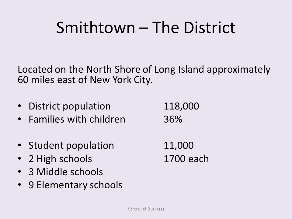 Smithtown – The District Located on the North Shore of Long Island approximately 60 miles east of New York City.
