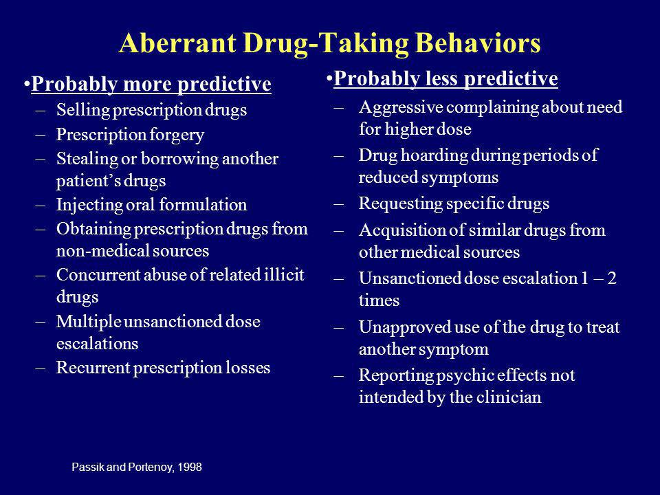 Aberrant Drug-Taking Behaviors Probably more predictive –Selling prescription drugs –Prescription forgery –Stealing or borrowing another patients drug