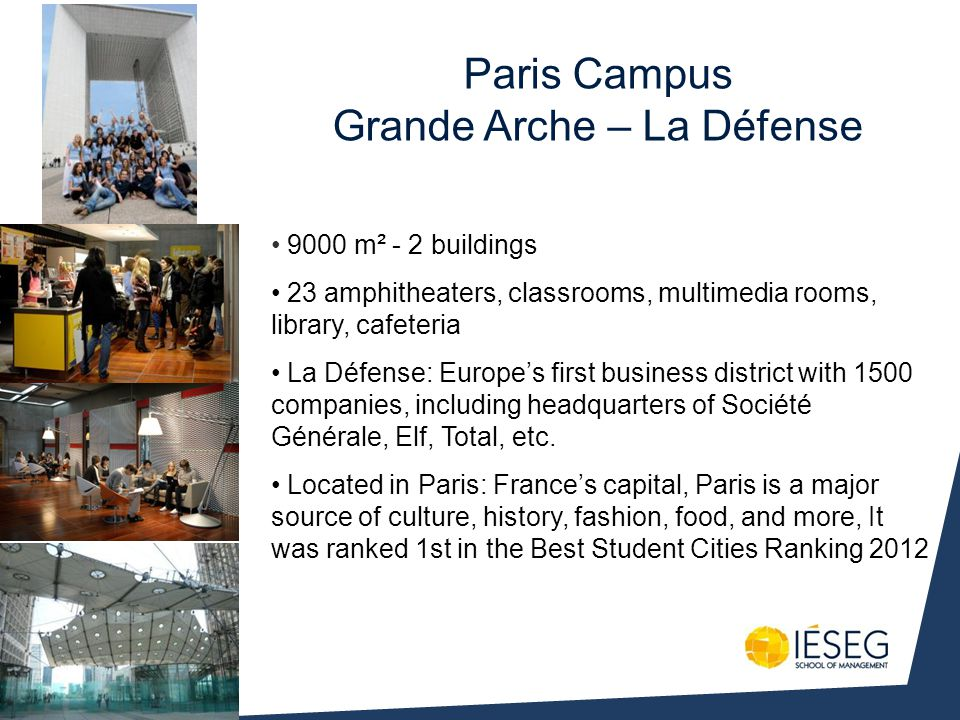 9000 m² - 2 buildings 23 amphitheaters, classrooms, multimedia rooms, library, cafeteria La Défense: Europes first business district with 1500 companies, including headquarters of Société Générale, Elf, Total, etc.